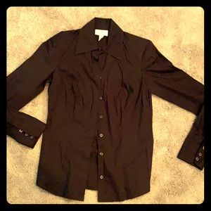 Ann Taylor size 0 dark brown button down shirt